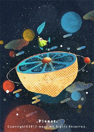 Анимация Рогатый чудик в зеленом плаще парит в космосе, держась за зеленый листок, над планетой, которая выглядит как половинка лимона (Planet)