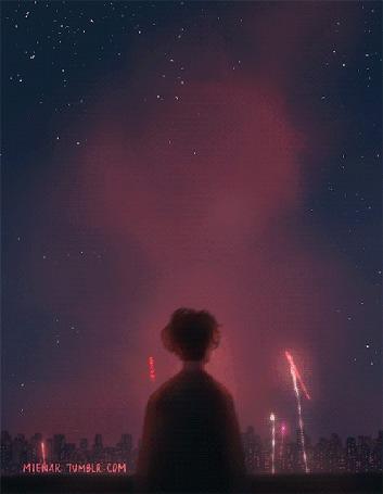 Анимация Мальчик стоит на фоне неба с салютами, by miena