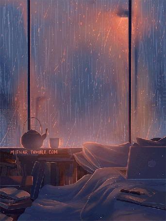 Анимация Чайник и чашка стоят у окна, за которым идет дождь, by miena