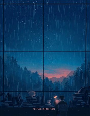 Анимация Мальчик сидит на стуле в комнате с окном, за которым идет дождь, by miena