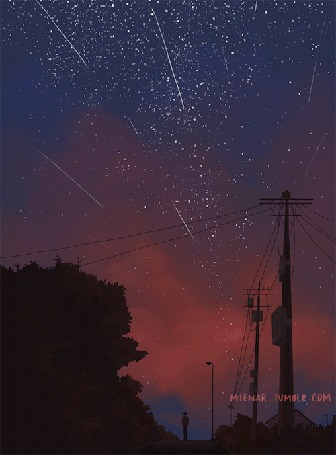 Анимация Мальчик стоит под падающими звездами на ночном небе, by miena