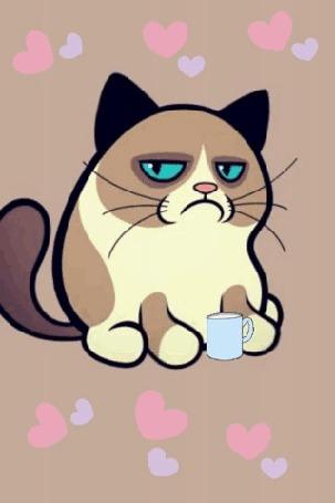 Анимация Недовольный кот огорчен, что ему дали чай вместо сметаны