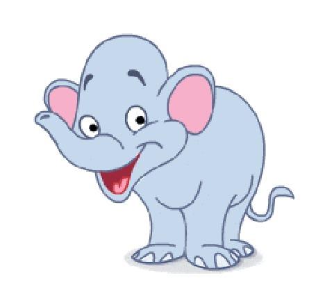 Анимация Веселый слоненок радостно машет хоботом и хвостиком