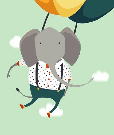 Анимация Слон летит на парашюте в небе среди облаков