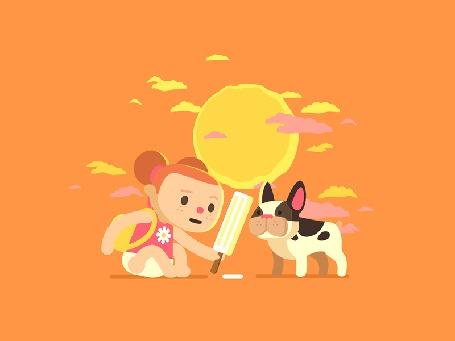 Анимация Девочка и щенок бульдога едят мороженое, сидя под солнцем