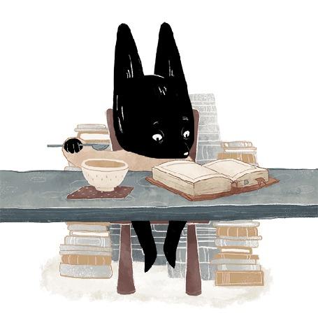 Анимация Черный лисенок увлеченно читает книгу и ест за столом