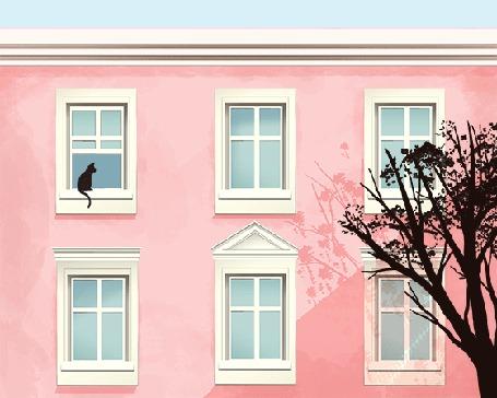 Анимация Черная кошка сидит на окне и болтает хвостом, by comox draws