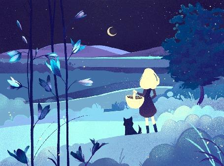 Анимация Девушка с корзинкой и собакой смотрят на месяц вдалеке, by zandrami