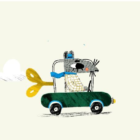 Анимация Мышка едет на заводной машинке, by Siiri Vaisanen