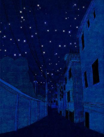 Анимация Ночью на улице постепенно от дома к дому зажигается свет в окнах