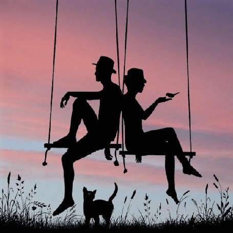 Анимация Парень с девушкой на качелях