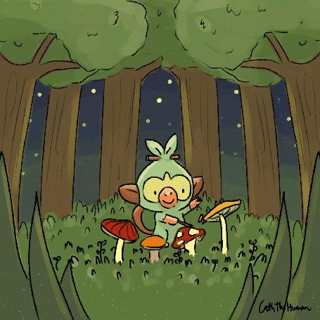 Анимация Обезьянка играет на грибах как на барабанах, by Catherine Ambrocio