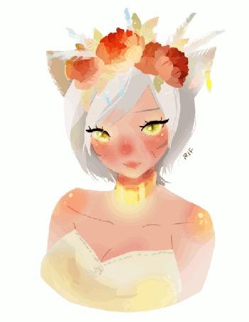 Анимация Девушка с ушками и цветами на волосах, by rifqaart