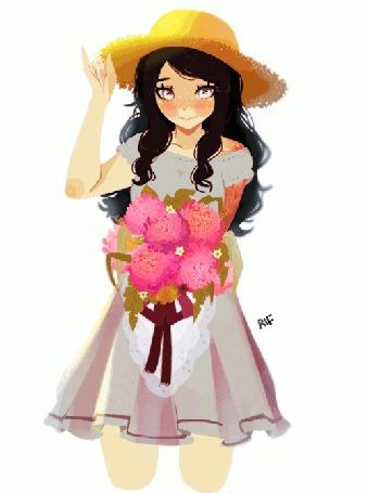 Анимация Девушка в шляпке с цветами, by rifqaart