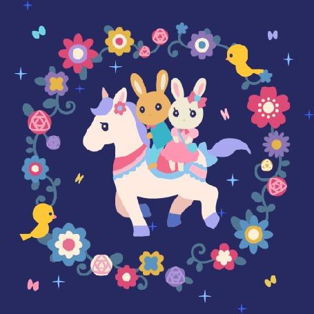 Анимация Зайчики скачут на лошадке, by Mai Narushima