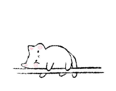 Анимация Кот лежит и мечтает о рыбке, by nishjo
