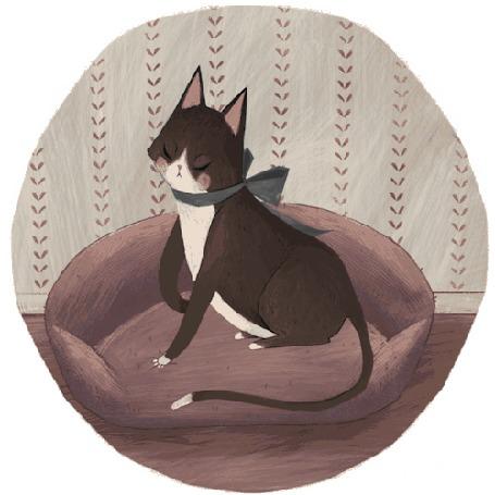 Анимация Кошечка топчется лапками на своей подстилке, by May Lee