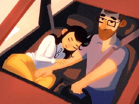 Анимация Девушка лежит на руке мужчины, который ведет машину, by Michael Relth