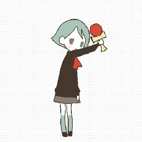 Анимация Девушка с синими волосами делает круг на месте одновременно изменив на себе одежду