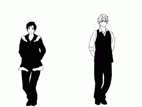 Анимация Izaya Orihara / Идзая Орихара и Shizuo Heiwajima / Сидзуо Хэйвадзима из аниме Durarara!/Дюрарара!