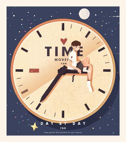Анимация Мальчик сидит на стрелке часов, (day by day / день за днем), by Too Thin