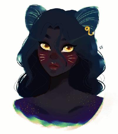 Анимация Девушка-кошка с желтыми глазками, by rifqaart