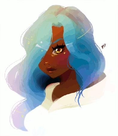 Анимация Девушка с разноцветными волосами, by rifqaart