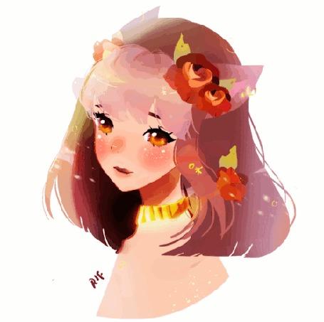 Анимация Девушка с ушками и цветами в волосах, by rifqaart