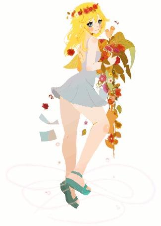 Анимация Девушка с венком на волосах держит цветы в руках, by rifqaart