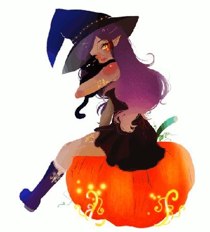 Анимация Ведьмочка обнимает черного кота сидя на тыкве, by rifqaart
