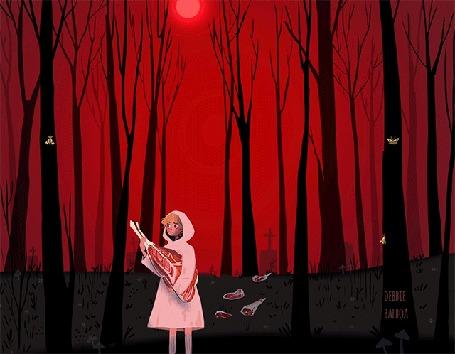 Анимация Девушка стоит в лесу, и над ней появляется пробегающее страшилище, похожее на летучую мышь, by Debbie Balboa