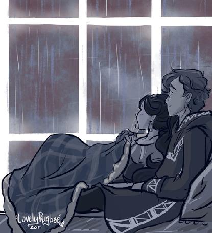 Анимация Парень и девушка обнявшись лежат у окна и смотрят на дождь, by Lovely Rugbee