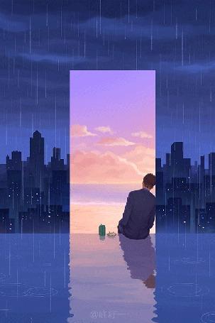 Анимация Парень сидит в проеме дверей, по обе стороны от которых идет дождь
