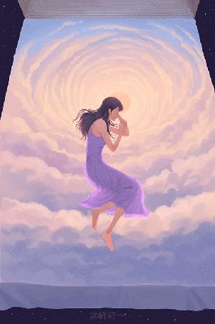Анимация Девушка на фоне облака. Иллюстрация Doodle Kingdom