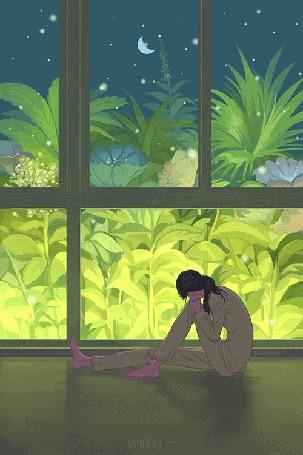 Анимация Девушка сидит на полу у окна. Иллюстрация Doodle Kingdom