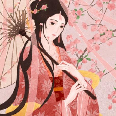 Анимация Девушка азиатской внешности стоит под зонтом