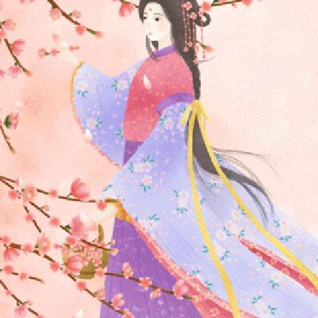 Анимация Девушка азиатской внешности стоит у цветущей сакуры