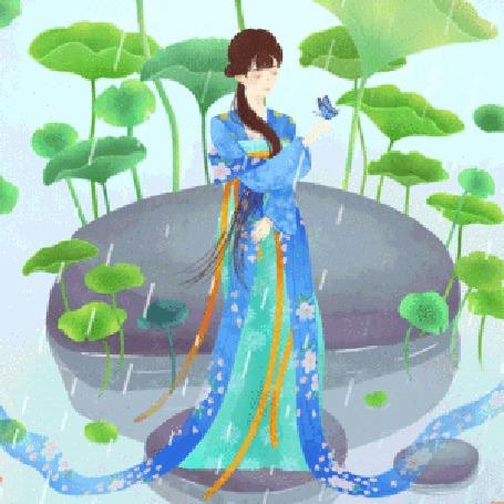 Анимация Девушка азиатской внешности стоит под дождем