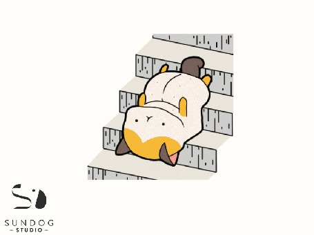 Анимация Кот сползает с лестницы на спине