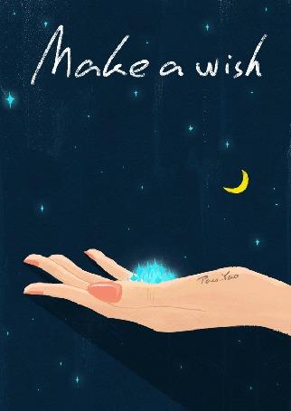 Анимация На женскую ладонь падает звезда (Make a wish / Загадать желание), by Paco Yao