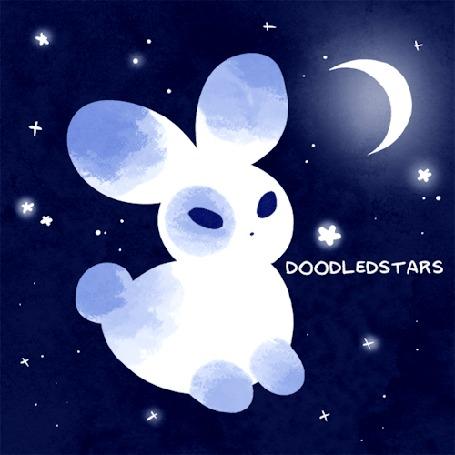 Анимация Зайчик на фоне звездного неба и луны, by DoodledStars