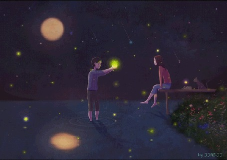 Анимация Парень, стоящий в воде, протягивает девушке, сидящей на мостках, звезду