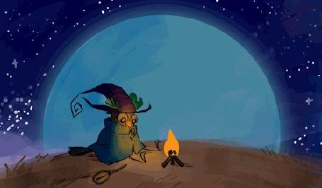 Анимация Сова-колдунья сидит у костра на фоне большой луны, by Mary Celeste Hauder