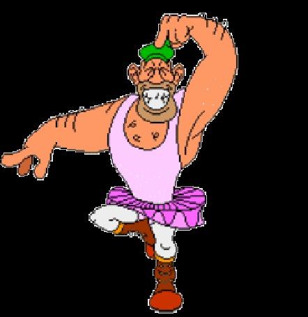 Анимация Мужчина в пачке танцует