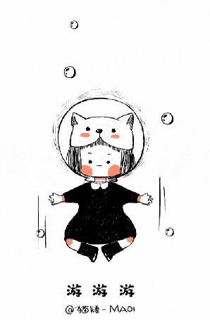 Анимация Девочка в шапочке-кошке под водой, by MAOI
