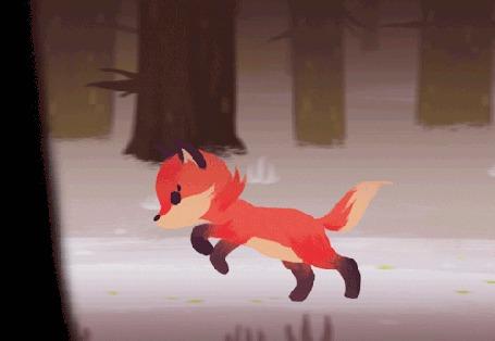 Анимация Лисенок бежит по лесу, by Sjan Weijers