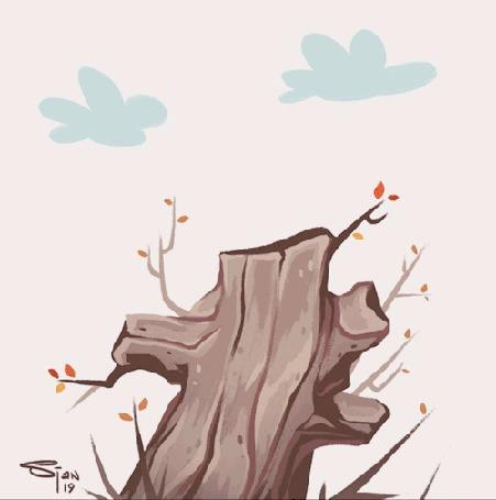Анимация Птичка скачет по дереву, by Sjan Weijers