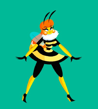 Анимация Девушка-пчелка прогуливается, by BichCarito