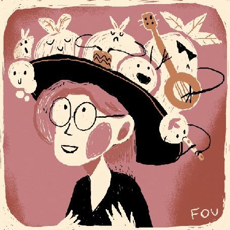 Анимация На шляпке у девушки овощи играют на музыкальных инструментах, by FOU