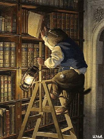 Анимация В одной из городских библиотек, крот-библиотекарь с керосиновой лампой в левой руке, забравшись на самую последнюю ступень деревянной стремянки, пытается достать с книжной полки нужную для него книгу, либо для кого-то из посетителей библиотеки